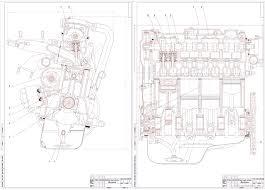 Курсовые и дипломные работы автомобили расчет устройство  Чертежи Продольный и поперечный разрез двигателя ВАЗ 2110 двухклапанный
