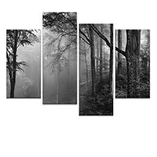 amazon forest canvas wall art fancy foggy forest landscape canvas prints framed and stretched home decor art 4 panels tree forest canvas painting  on canvas black and white wall art with amazon forest canvas wall art fancy foggy forest landscape