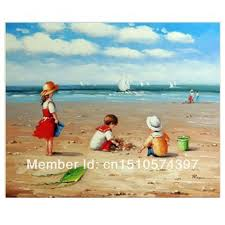 wall art children playing beach sand 1800 s boats ocean 50x60 stretched oil painting art no