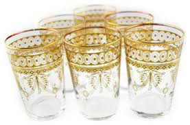 mini berber tea glasses set of 6 gold eclectic teacups by moroccan prestige