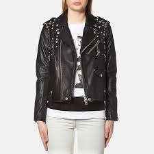 coach women s icon moto jacket with beatnik rivets black free uk delivery over 50