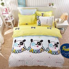 panda cartoon bedding sets i love panda comforter set duvet cover yellow bed sheet sets single double queen king size bedding bedding and linens bedroom