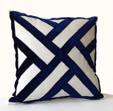 ivory linen navy blue velvet applique pillow cover geometric