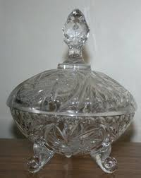 vintage glass covered candy dish large pinwheels stars footed milk pedestal with lid