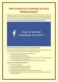 How to Recover Facebook Account Without Email? by Sophia singh - issuu