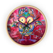 owl wall clock colorful modern art