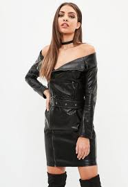 a dress in an off shoulder biker style with faux leather finish long sleeveini length