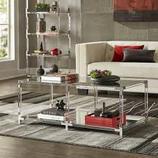 Cyrus Clear Chrome Corner Mirrored Shelf Accent Tables .
