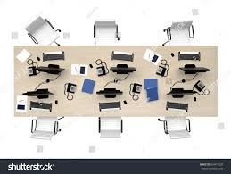 designer office desk isolated objects top view. Office Table Group Work Top View Isolated On White. 3d Rendering Designer Desk Objects I