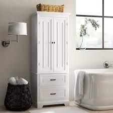 White Finish Linen Tower Bathroom Towel Storage Cabinet Tall Wooden Organizer Ebay