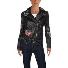 aqua womens erfly winter leather motorcycle jacket 0