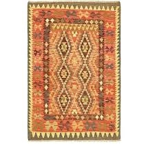one of a kind hand knotted x 5 wool red green brown area rug 3 by