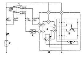Система заряда общая информация и меры предосторожности 1 Выключатель зажигания 2 Главная плавкая вставка 3 Контрольная лампа заряда 4 Регулятор напряжения