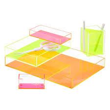 Poppin Neon Pink Acrylic Accessory Tray
