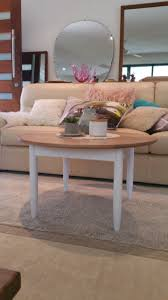 round hamptons chic solid timber coffee table