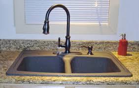 Black Granite Kitchen Sink with Bronze Faucet sink black kitchen