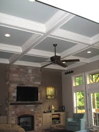 ... Marvelous Home Interior With Modern Coffered Ceiling : Charming Design  Ideas Using Blue Suede Club Chairs