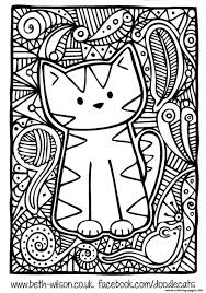 Kitten Adult Difficult Cute Cat Coloring
