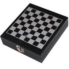 chess set wood case w 4 pc wine set