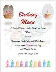 7 Free Sample Birthday Menu Templates - Printable Samples