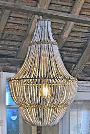 white wooden bead chandelier large beaded home barn