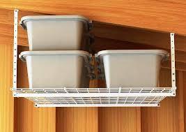 image of mounted garage ceiling storage shelves