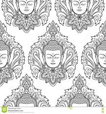Buddha Head And Lotus Seamless Pattern Stock Vector - Image: 80695838
