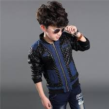 fashion black brown stylishparty winter leather jacket for kids