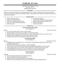 Resume Examples For Restaurant Jobs