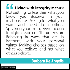 living integrity blog zerodean com living integrity means not settling for less than what you know you deserve