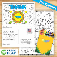 Free Printable Thank You Postcards Free Printable Thank You Cards To Color Growing Play