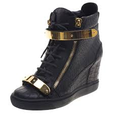 black croc embossed leather lorenz wedge sneakers size 40 nextprev prevnext