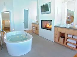Bathroom:Minimalist Bathroom Design With Gas Fireplace And Small White  Bathtub Decor Ideas Bathroom Designs