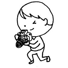 一眼レフカメラで写真を撮る男性のフリーイラスト フリーイラスト