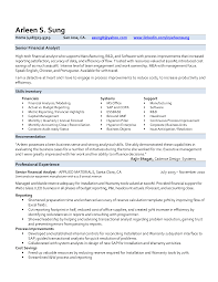 Example Of Financial Analyst Resume