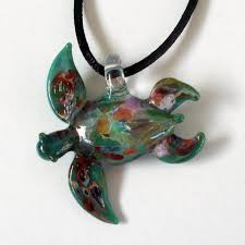 our larger aqua hand blown glass sea turtle pendant necklace fo