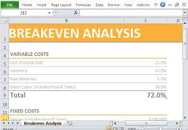 Excel Break Even Analysis Template Simple Breakeven Analysis Maker Template For Excel