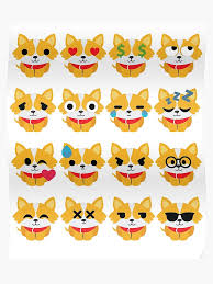 Corgi Emoji Different Face Emotion Poster