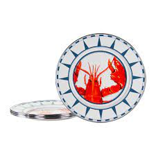 Set of 4 Lobster Dinner Plates – Golden ...