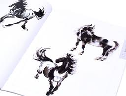 detail view of a sumi painting with an elegant running horse