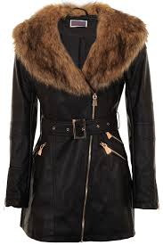 womens pu leather faux fur collar belted waist gold size zip long biker jacket