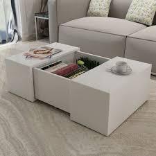 white coffee table modern high gloss