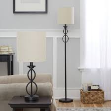 mainstays table and floor lamp set black matte finish modern sets e b a c ae ac d f