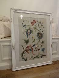 extra large vintage framed fl crewel work tapestry picture shabby chic frame