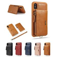 zipper leather wallet case for iphone 6 7 8 x xr xs max card holder kickstand luxury phone case shockproof back cover with purse and lanyard best cell phone