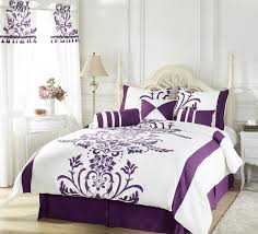 purple queen comforter set com 11 piece provence embroidered bed in a bag