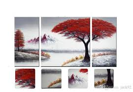 2018 canvas art red tree oil painting wood frame inside hand painted landscape painting modern wall art decor 25x50cmx50x50cmx1p from jack92