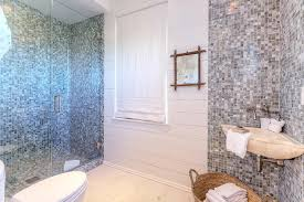 bathroom with gray glass mosaic tiles view full size