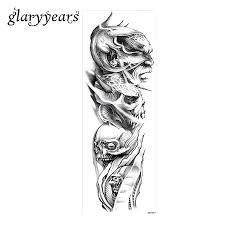 цельнокроеное платье полные руки татуировки стикеры временные дьявол череп