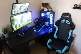 Light Blue Gaming Chair Glowing Light Blue Gaming Computer Setup Electric Blue
